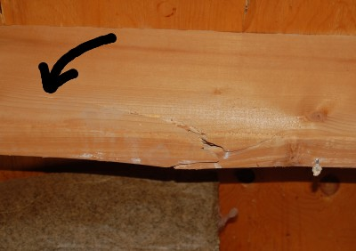 Close up of a split joist