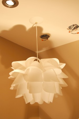 Knappa light fixture installed as a pendant light