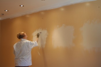 choosing between paint colours by painting test patches on a wall