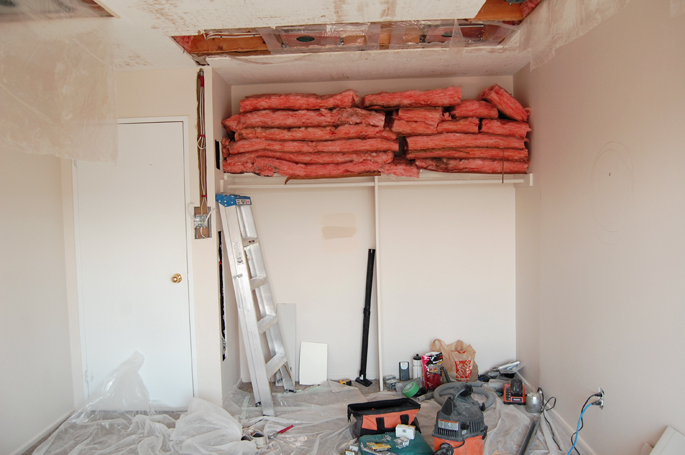 bedrrom renovation - storing insulation for reuse