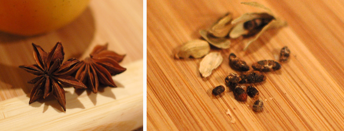 Star anise on the left, and cardamon seeds (removed from the pods) on the right.