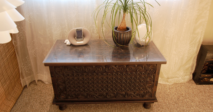 Hand-carved Tanzanian chest.