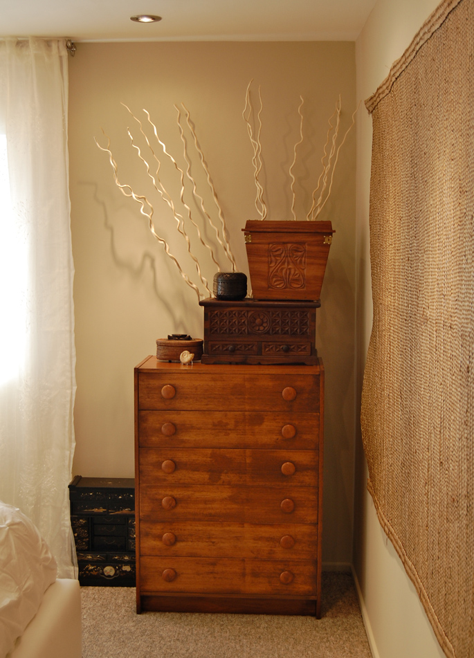 Antique Chinese chest, Tanzanian carved boxes and Balinese woven box.