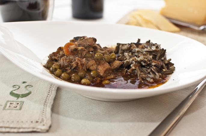 Turkey stew served with wild rice.