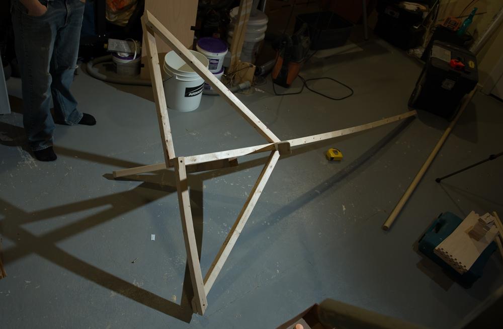 assembled pumpkin scarecrow stand base