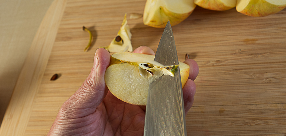 coring apples - change angle of cut