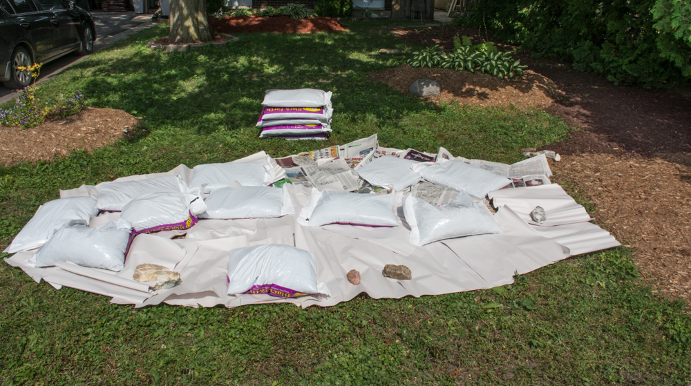 creating a raised bed garden starting with newsprint